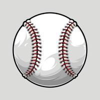 honkbal bal geïsoleerd op grijze achtergrond, geïllustreerd in hoge kwaliteit, schaduwen en lichten, klaar voor gebruik in uw sport ontwerpen