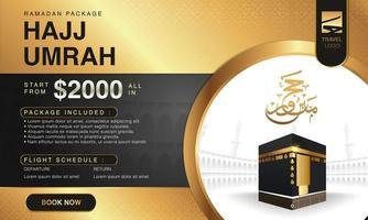 islamitische ramadan hadj umrah brochure of flyer sjabloon achtergrond vector ontwerp met biddende handen en mekka illustratie.