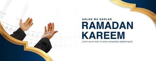 ramadan kareem vector achtergrond met mannelijke bidden door beide handen op te heffen, 3d-realistisch ontwerp