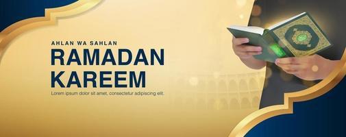 ramadan kareem vectorachtergrond met mannetje dat de koran in 3d-realistisch ontwerp leest