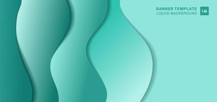 abstracte bannermalplaatje vloeiende vorm laag papier gesneden stijl. groene achtergrond met ruimte voor uw tekst. vector