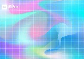abstracte holografische iriserende vloeiende achtergrond met rasterpatroon. vector