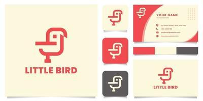 eenvoudig en minimalistisch vogellogo met sjabloon voor visitekaartjes vector