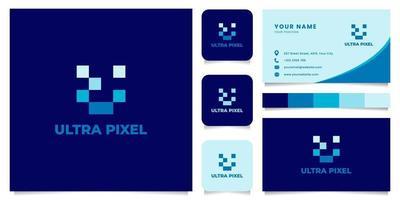 letter u pixel logo met sjabloon voor visitekaartjes