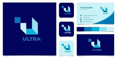 blauw letter u logo met sjabloon voor visitekaartjes vector
