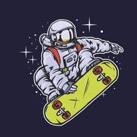 astronaut skateboarden in de ruimte vector