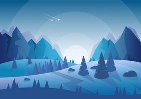 Vector blauwe landschap illustratie