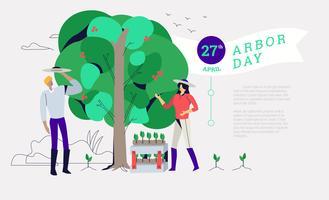 Ga groen plantend in Arbor Day Vectorillustratie als achtergrond