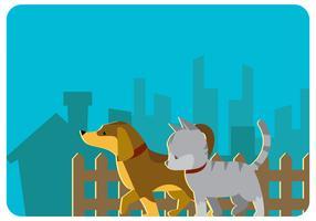Wandelen Puppy en Kitty Vector
