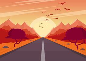 Vector oranje landschap illustratie