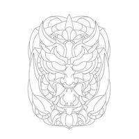 vector hand getekende illustratie van duivels monster