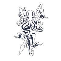 octopus inkt illustratie kunstwerk vector