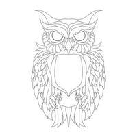 vector hand getekende illustratie van grote uil