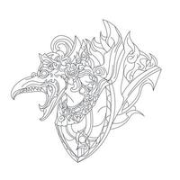 vector hand getekende illustratie van garuda balinese cultuur