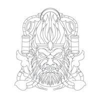vector hand getekende illustratie van boze aap