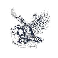 Garuda Indonesisch inktillustratiekunstwerk vector