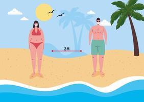 mensen sociaal afstand nemen op het strand met gezichtsmaskers vector