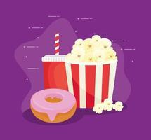 zoete donut met popcorn en drank, fastfoodcombinatie vector