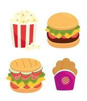 set van fastfood, lunch of maaltijd vector