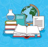 open boek met onderwijspictogrammen vector