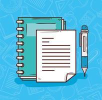 onderwijsconcept, notitieboekje met pen vector