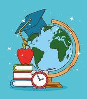 onderwijsconcept, wereldbol met hoed afstuderen en school pictogrammen vector