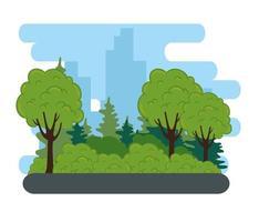 natuurlandschap met bomen, struiken en wegstraat vector