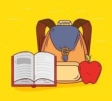 terug naar schoolbanner met onderwijsbenodigdheden vector