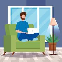 man aan het werk met een laptop in de woonkamer vector