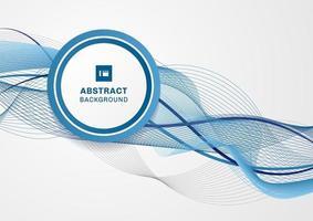 abstracte blauwe golflijn met cirkellabel op witte achtergrond en ruimte voor uw tekst vector