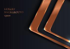 abstract elegant geometrisch afgerond vierkant glanzend metaalkoper op zwarte luxestijl als achtergrond vector