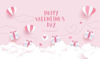 gelukkige Valentijnsdag achtergrond, kaartuitnodiging met mooie geschenkdozen vector