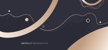 abstracte elegante banner websjabloon gouden metalen cirkel, golvende lijn op zwarte achtergrond vector