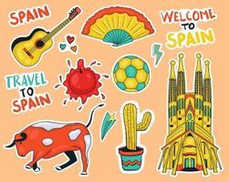 kleurrijke hand getekend spanje element stickers collectie vector