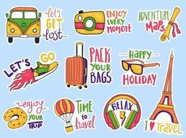 kleurrijke hand getrokken reisstickers-collectie vector