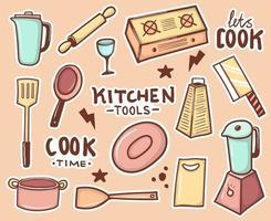 kleurrijke hand getrokken keukengereedschap stickers collectie vector