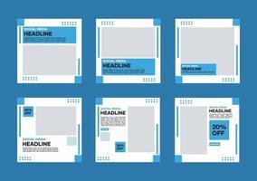 bewerkbare sjabloonbundel voor sociale media. in blauw en wit. geschikt voor posts op sociale media en banneradvertenties op internetwebsites vector