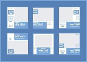 bewerkbare sjabloonbundel voor sociale media. in blauw en wit. geschikt voor posts op sociale media en internetreclame op websites vector