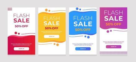 dynamische sjabloon vloeibare mobiel voor banners voor flash-verkoop. verkoop banner sjabloonontwerp vector