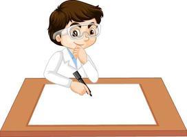 een jongen in een jurk van een wetenschapper met leeg papier op tafel vector