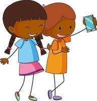 twee meisjes stripfiguur nemen van een selfie in de hand getrokken doodle stijl geïsoleerd vector