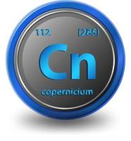 copernicium scheikundig element. chemisch symbool met atoomnummer en atoommassa.
