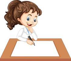 schattig meisje draagt wetenschapper uniform schrijven op blanco papier vector