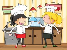 kleine chef-kok in de keukenscène met apparatuur vector