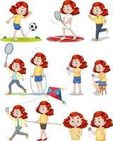 set van meisje dat verschillende soorten sporten doet vector