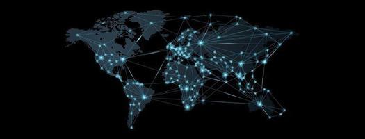 wereldkaart. wereldwijd sociaal netwerk. toekomst. vector. blauwe futuristische achtergrond met planeet aarde. internet en technologie. geometrische achtergrond. lichtpunt. lichtlijn. vector