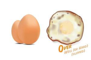 gebakken eieren omgedraaid met rauwe eieren foto, in meer dan goed of meer dan harde basisstijl niveau van gaarheid, vector illustratie op witte achtergrond.