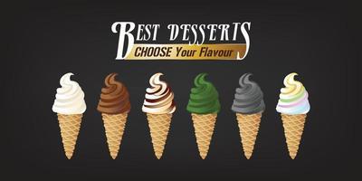 beste dessertijs in verschillende smaken. vector