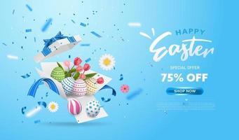 vrolijk Pasen met verrassings witte geschenkdoos met kleurrijke eieren vector