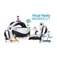 mensen gebruiken een virtual reality-machine voor training, oefenen met verbeeldingskracht. vector
